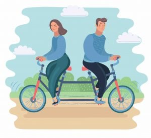 Make sure you are headed in the same direction as your partner, not pedalling against each other.